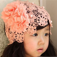 Wholesale Wholesale Crochet Ornaments - Baby Girls Kids headbands Big flowers handmade Crochet Infant Children Hair Accessories Bow Pearl Chiffon Headbands Hair Ornaments KHA216