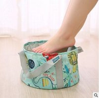 Wholesale Foot Bucket - Folding Bucket Foot Wash Basin Travel Cosmetic Bag Fashion Barrel Shaped Portable Women Travel Storage Bag Makeup Pouch DHL Free Shipping