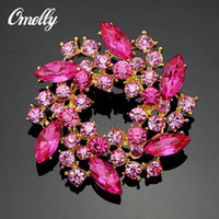 Wholesale Cheap Brooches For Wedding Bouquets - Fashion Silver Gold Plated CZ Light Pink Crystal Brooches Pins Flower Rhinestone Bouquet Brooches Flower for Christmas Gift Cheap