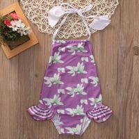 Wholesale Toddler Girls Tankini Swimsuits - Summer Cute Kids Toddler Baby Girl Swimsut Sleevless Backless Purple Floral Bikini Tankini Swimwear Swimsuit Bathing Suit 0-6Y