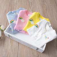 Wholesale Cardigan Cotton Rainbow - In stock 4 color INS styles new arrival Rainbow clouds children long sleeved Cotton wool cardigan kids girl casual cute cardigan