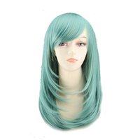 Wholesale Cheap Red Party Wigs - WoodFestival cosplay wigs for women long straight wigs cheap synthetic fiber hair wigs heat resistant red blue white burgundy wig party