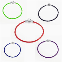 Wholesale Food Gift Sets - 100pcs CCA3584 High Quality Candy Color Colorful PU Leather Snake Braided Clasp European Bracelet Chain Fits Charm Beads Braided Bracelets