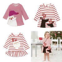 Wholesale Skirt Dresses Girls - Baby Girls Christmas Party Cosplay Costume Princess Santa Claus Deer Elk Dress Stripe Long Sleeve Skirt