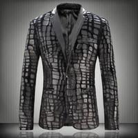 Wholesale Male Leather Wool Clothing - Wholesale- Hot plus size men Faux Leather Spliced Velvet Suit male slim blazer men's clothing wool plaid winter autumn outerwear jacket