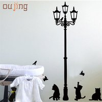 Wholesale Kids Butterfly Lamp - Wholesale- oujing New Arrival Cat Wall Sticker Lamp and Butterflies Stickers Decor Decals Removable Cartoon Sticker for kids room