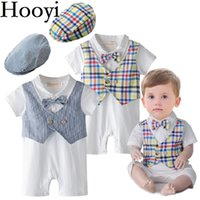 Wholesale Tuxedo Girl Costume - 2018 Fashion Handsome Baby Boys Clothes Newborn Rompers Birthday Costumes Baby Jumpsuits Hats Short Sleeve Tuxedo 100% Cotton Bodysuits Tops
