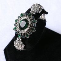 Wholesale Vintage Green Agate Bracelet - Wholesale- Luxury brand emerald agate bracelet bangle for women vintage turkish antique silver jewelry with green zircon crystal