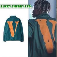Wholesale Trench Coat Hip Hop - Vlone Jackets Men Printed Hip Hop Brand Windbreaker Male Vlone Trench Plus Size Kanye West V Jackets And Coats SMC059