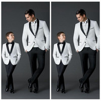 Wholesale Boy White Tuxedo Suit Wedding - Custom Made 2017 New Fashion Groom Tuxedos Men's Wedding Dress Prom Suits Father And Boy Tuxedos (Jacket+Pants+Bow) Formal Wear Tuxedos