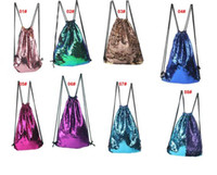 Wholesale Drawstring Backpack String Bags - Sequins Backpacks Bags Mermaid Sequin Drawstring Bags Reversible Paillette Outdoor Backpack Glitter Sports Shoulder Bags Travel Bag