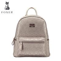 Wholesale Cow School Bags - Wholesale- FOXER Girls Cow leather Backpack school bag ladies women big style