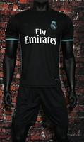 Wholesale New Free Fonts - 2017 2018 new Real madrid soccer Jerseys New Font RONALDO away Black JAMES BALE RAMOS ISCO MODRIC football shirt kits free shipping