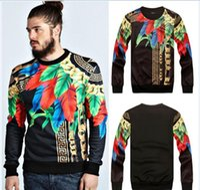 Wholesale Indian Fashion Wear - new famous brand men sweatshirts suit casual pullover hoodies novelty print Indian Maya totem sweatshirts suit sport wear