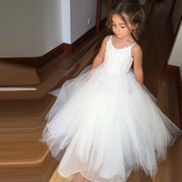 Wholesale Girls Pink Gowns - 2017 Lace Flower Girl Dresses for Wedding Party First Communion Dress Straps Long Puffy Toddler Tulle Floor Length Ball Gowns Flower Girls