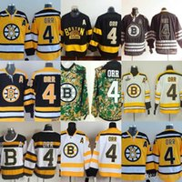 Wholesale Outlet Goods - Factory Outlet 2017 new arrivals-Men's Boston Bruins #4 Bobby Orr Black White Camo Yellow cheap good qualit ice hockey jerseys Free shipping