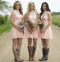 Wholesale Purple High Knee Bridesmaid - 2017 Country Blush Lace Short Bridesmaids Dresses High Neck Sleeveless Above Knee Length Backless Cheap Bridesmaid Gowns Maid Honor Dresses