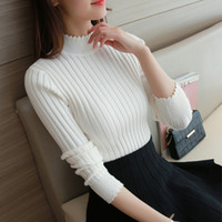 Wholesale Ladies Fall Sweaters - Wholesale- 2016 fall fashion lace half Korean sweater slim lady turtleneck long sleeved sweater thickened sleeve head base