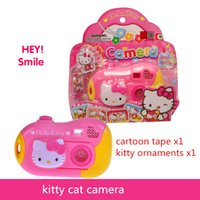 Wholesale Cute Baby Boy Picture - Toy Cameras ABS Cute pink camera 18*4*18CM Baby toy cameras good quality tell story change pictures good gift for kids kitty