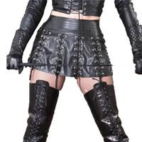 juegos para adultos de calidad al por mayor-Fetish SM Game Costume Falda de cuero de la PU de calidad superior para mujeres Sexy vestido erótico de la señora con cordones Fiesta de adultos Night Club lencería