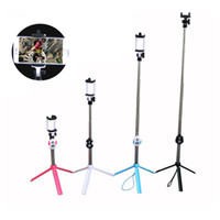 Wholesale wireless monopod online - Brand New Foldable Tripod Monopod Selfie Stick Bluetooth With Wireless Button Shutter Selfie Stick For Android And iPhone