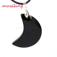 Wholesale Green Sand Stone - Natural Stone Moon Pendant Pendulum Women Mens Jewelry Charms Aventurin Red Agate Onyx Blue Sand Gold India Agate Fashion Jewelry
