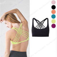 Wholesale Green Ladies Underwear - Green Cross Back Movement Sports Yoga Bras Pink Sexy V Neck Running Gym Vest Rose Red Fitness Workout Cropped Top Lady Underwear