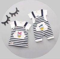 Wholesale Donald Duck Rompers - Baby Boys Girls Sets Cartoon Donald Duck T-shirt Rompers Girls Daisy T-shirt Striped Pants 2pcs Suits 2017 Summer Kids Clothing 155