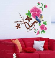 Wholesale modern magnolia - AY712 Magnolia Flowers Wall Sticker Removable Vine Forals Butterfly Wall Decals Home Decorationx