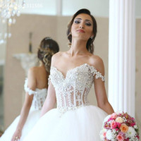 Wholesale Silver Corset Pearl Wedding Dress - Elegant Lace Appliques Straps Sweetheart Bodice Corset Ball Gowns Wedding Dresses 2017 Pearl Beaded Bride Gowns Vestidos De Noiva