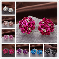 Wholesale ceramic flower jewelry rose - New Fashion Solid Color Rose Flowers Earrings Stud Ceramics Floral Prevent Allergy Trendy Zinc Alloy Studs Earrings Jewelry Valentines Gift