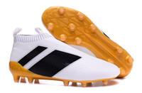 Wholesale Serpentine Shoes - 2017 Wholesale Cheap Football Shoes ACE 16+ PureControl FG Soccer Shoes Men Serpentine Soccer Cleats Top Quality Socks Shoes Size 6.5-11.5