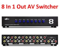 Wholesale 8 Ports Composite RCA Video Audio AV Switch Switcher Box Selector In Out x for HDTV LCD Projector DVD