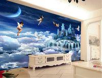 luxus-gold-tapete großhandel-benutzerdefinierte Tapetenrolle Größe Engel Himmel Hintergrund Wandtapeten an der Wand Luxus Gold Tapete