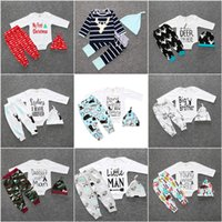 Wholesale Christmas Style Leggings - Christmas Xmas Winter Outfits Set Baby Girls Boy Deer Moose Tops T-shirt Romper Deer Leggings Pants Clothes Infant Ins Clothing Hat Headband