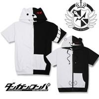 Wholesale Dangan Ronpa Cosplay - Danganronpa Monokuma Black White Bear Cartoon Hoodies Sweatshirt Jacket Dangan-Ronpa Halloween Cosplay Costume Unisex Coat Tops