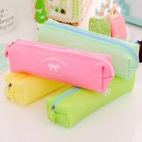 Wholesale Bow Pencils Cases - Wholesale- 1PC 4 Colors Silicone Dot Bow Pen Bag Girl Student Zipper Pencil Case Travel Cosmetic Bag Office School Supplies