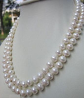 ENVIO GRATIS nova jóia nobre de jóias finas AAA 9-10MM ROUND SOUTH SEA GENUINE WHITE PEARL COLLAR 36