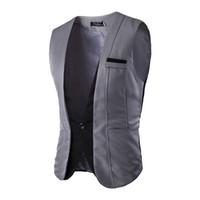 Wholesale Patch Suit Design - Wholesale- Suit Vests Men 2016 Fashion New Faux Two Piece Patchwork Formal Dress Vest Sleeveless Single Breasted Slim Fit Waistcoats