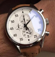 Wholesale Calibre Digital - NEW ARRIVAL Carrea Calibre 1887 SpaceX Chrono Flyback Stopwatch White Dial Brown Leather Belt Mens Watches Sports Gent Watch VK Chronograph