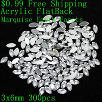 Wholesale Crystal Earth Jewelry - Wholesale- Marquise Earth Facets $0.99 Many Sizes Acrylic Rhinestones Flat Back Crystal Clear Glue On Beads DIY Jewelry Nails Art Charms