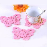 Atacado- 12 * 9cm Pink Butterfly Felt Cloth Cup Pad Fashion Party Cup Coaster Table Placemat Home Decor 50pcs / lot SH059
