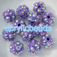 Wholesale Berry Beads Acrylic - CHINA Factory 8*10MM Sparkling Acrylic Berry Round Resin Rhinestone Ball Beads for Jewelry Bracelet DIY 100pcs
