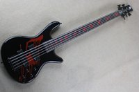 Wholesale One Piece Basses - Free shipping High Quality one-piece set neck 5 String Blood Tears black electric bass guitar with Active Pickups -1411-11