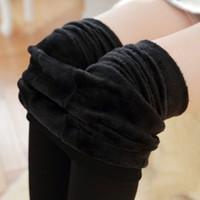 Wholesale cashmere leggings women - Wholesale- Female Faux Cashmere Leggings Winter Trend Warm Women Knitting Leggings Elastic Thicken Velvet Lady's Legging Skinny Foot Pants