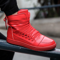 Wholesale Casual Ankle Boots For Men - Wholesale- Medium High Tops Lace-Up Leisure Skate Shoes Ankle Boots for Men Outdoor Sport Casual flat Walking PU Leather Shoes Botas Hombre