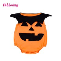 Wholesale Cute Infant Halloween Costumes - Pumpkin Sleeveless Orange Romper Baby Newborn Halloween Clothes Infant Boys Girls Unisex Jumpsuits Toddler Cute Photography props Costumes