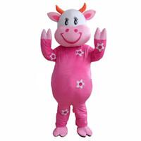 fantasia de vaca venda por atacado-New Hot! Fazenda profissional laticínios vaca mascote trajes dos desenhos animados fancy dress frete grátis