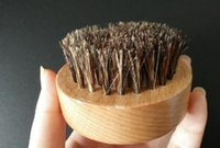 Wholesale Natural Wood Bristle Brush - Natural Boar Bristle Beard Brush Mustache Military Round Wood Handle Men's Beard Brush Face Message Facial Hair Beard Oil
