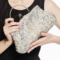 Vente en gros-Vintage Femmes Broderie Fleur Beaded Soir Bag Handle Clutch Purse Banquet Party Chain Sac à main Sac à main 11colors JXY503
